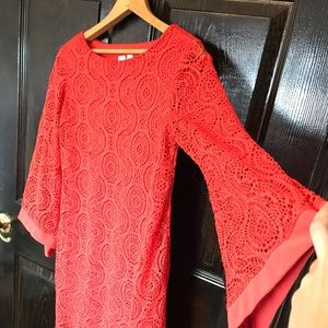 Bell Sleeved Red Vintage Lace Crochet Dress